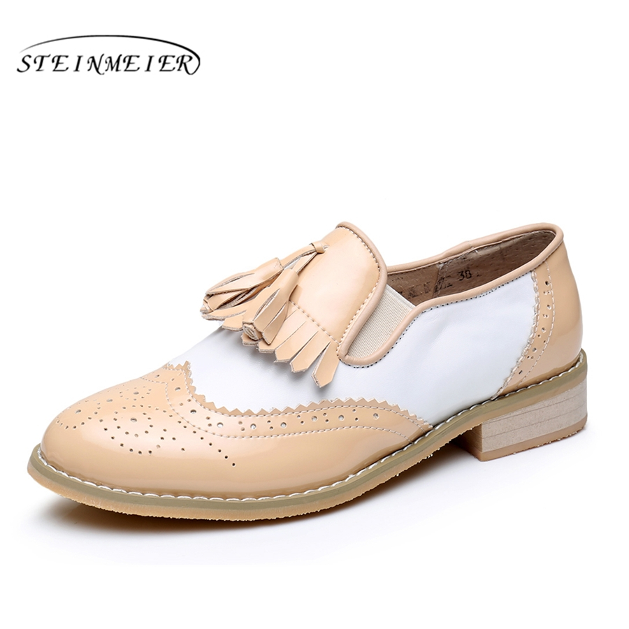 Genuine leather big woman us 10 tassel vintage Casual soft flat shoes round toe handmade nude white oxford shoes for women fur<br>