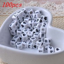 New 6mm 100pcs/Lot Mixed White Acrylic Number Square Beads DIY Loom Refills Cube Pendants Accessories Charm Bracelets
