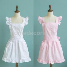 Victorian Pinafore Apron Maid Lace Smock Costume Ruffle Pockets White/Pink(China)