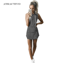 Summer Dresses Women Hooded Sexy Sporting Dress with Pockets Black & White Stripe Bodycon Women Dresses Platya Vestidos Robes