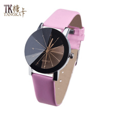 high quality Glass Quartz Men's Watch 4color round Table mirror leather watchbands clock fashion Women's quartz Wristwatches(China)