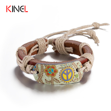 BOHO Fashion Vintage Jewelry Hip Hop Skate Leather Rope Bracelets Bangles For Women Hand Woven Painted Flower Bracelet(China)