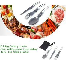 1Set Portable Outdoor Survival Travel Camping Tools Silver Stainless Steel Foldable Fork Spoon Knife Dinnerware Set
