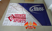 free shipping University of Oklahoma with BUD light Flag ,90X150CM size,stain material,Digital printing,double layers(China)