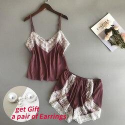 BZEL, новые пижамные комплекты, сексуальные кружевные пижамы для женщин, с v-образным вырезом, Пижама для женщин, летняя одежда для сна, атласно...
