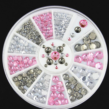 Mix Size 3D Tips Nail Art Decoration Glitter Rhinestones Crystal Acrylic Flat back Wheel Gel UV Polish Nails DIY Tools Manicure