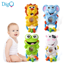 Baby Musical Rattle with Light Cartoon Shaker Handbells Sing and Flash Infant Plastic Toys Animal Elephant Lion Cow Frog D51(China)