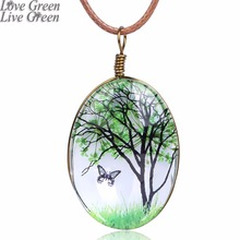 Women Handmade Transparent Glass Oval Pendant Necklace dichroic glass jewelry Gift Jewelry 3582(China)