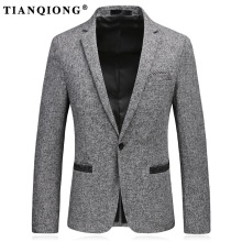 TIAN QIONG 2017 New Winter Casual Blazers Men Fashion Suits Jacket Linen and Cotton Coats Male Suits Brand Clothing DX169(China)