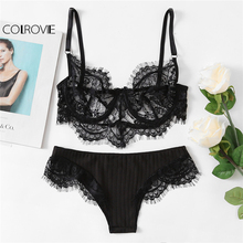 COLROVIE Black Eyelash Lace Lingerie Set Women Plain Adjustable Bra & Brief Sets 2018 Spring Sexy Underwear Lingerie Sets(China)