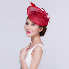 Brand Elegant Lady Philippines Sinamay Fascinator Head Bands Hat Big Top Feather Headwear Women Formal Party Cocktail Church Hat(China)