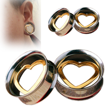 Pair Stainless Steel Ear Tunnel Hollow Heart Ear Plugs and Gauges Flesh Body Jewelry Ear Expander Reamer Piercing 8mm-25mm(China)