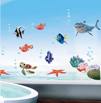 Wonderful Sea world removable 3d vinyl wall art stickers window decals bathroom decor decoration stickers for nursery kids rooms(China (Mainland))
