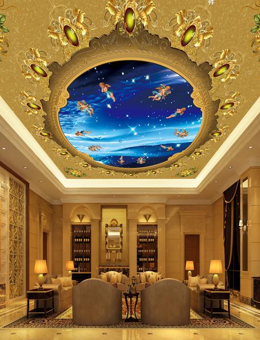 Custom 3d wallpaper 3d ceiling wallpaper murals Sky angel living room ceiling frescoes on European decorative pattern wall decor<br><br>Aliexpress