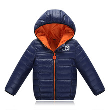 Boys Winter Jacket 2017 New Brand Hooded Kids Girls Winter Coat Long Sleeve WindProof Children Down Coat Outwear Warm 4-12 Years