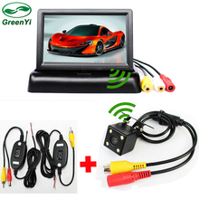 GreenYi Car Wireless Parking Camera Monitor Video System 4.3 Inch Car Foldable Monitor With Rear View Camera, Wireless Video Kit(China)