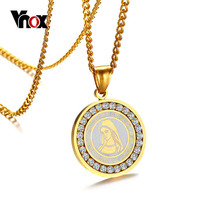 Vnox Virgin Mary Pendant Necklace for Women Gold color Stainless Steel Chain Religious Prayer CZ Zirconia Stone(China)
