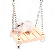 Hot Sale 1Pc Pet Product Hamster Rabbit Mouse Chinchilla Wooden Hanging Pet Hammock Small Swing Toys Cage Accessories(China)