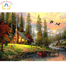 HOME BEAUTY oil paint painting by numbers diy picture drawing coloring on canvas painting by hand wall paint landscape J004