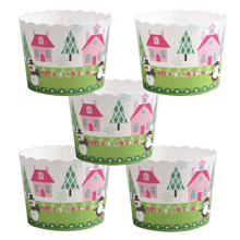 50pcs/bag New Christmas Tree House Snowman Snowflakes Christmas Paper cake cup Baking cake cup