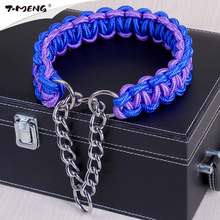 T-MENG Brand New Nylon Dog collar For Small Large Pet Hand Made P Chain Dog Collars Fashion Necklace Good For Pet Products(China)