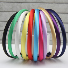 2017 6pcs/lot 1CM Women Girls Satin Resin Hairbands Ribbon Covered Kids DIY Headbands Children Hair Accessory