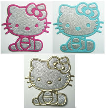 Pink & Blue & Gold Hello Kitty Iron On Patches Clothes Shirt Hat Jean shoe Pet Clothing Silvery Fashion Gifts