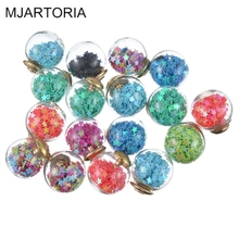 MJARTORIA 27PCs Charm Pendants Fix Mix Round Glass Pendant Star Sequins Gold Hat Wishing Bottle Pendants Diy Jewelry Accessories
