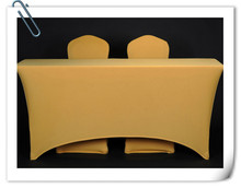 Big Discount !!!! 10pcs Spandex 6ft.Gold Rectangular Table Cover - 30'heght(180cm*45cm*75cm) Free Shipping(China)