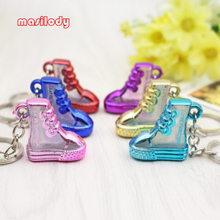 100pcs/Lot Acrylic Translucent Shoes Keychain Jordan Boots Key Chain Shoes Keyrings Love Forever Keyring For Lover Gifts(China)