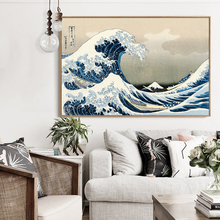 The Great Wave off Kanagawa Poster Japanese Home Accessories Decorative Painting Silk Wallpaper Printing Process HH095(China)