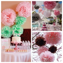 "4"" 6"" 8"" 10"" 12"" Tissue Paper Pom Poms Wedding Flower Ball DIY Home Kids Birthday/Wedding Party Decoration Baby Shower Supplies(China)"