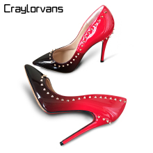 Craylorvans Top Quality High Heels With Studs 2017 NEW ARRIVE Women Pumps Brand Heels Red Black Women Shoes Hig Heel Big Size