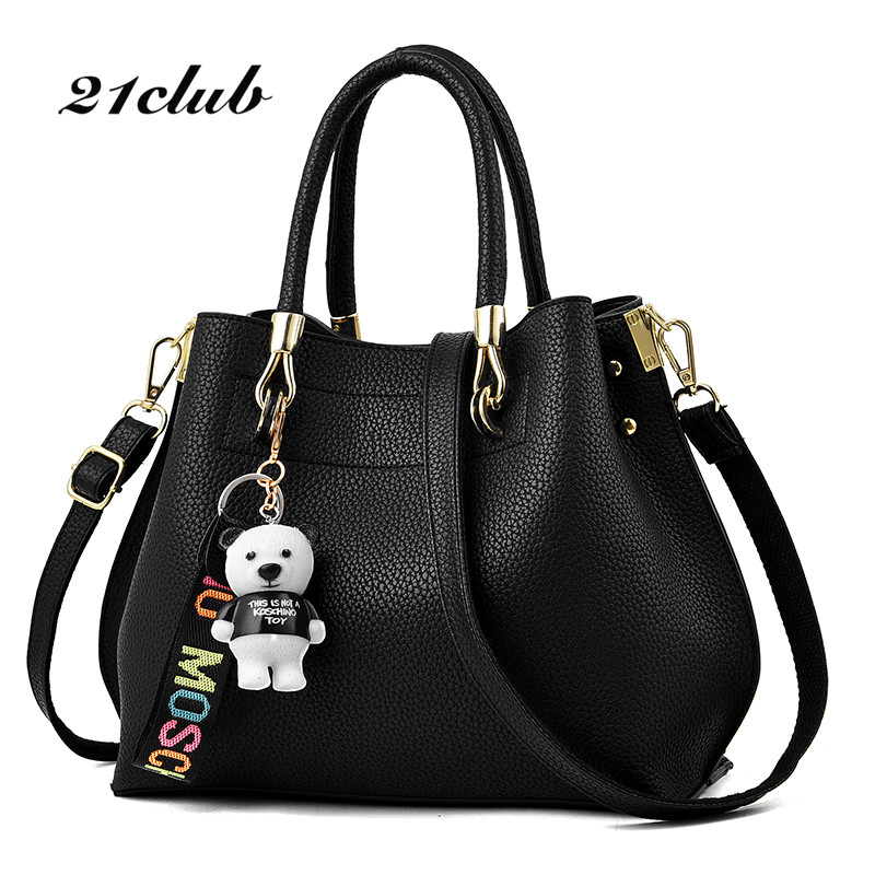 21club brand women bear pendant totes new solid single handbag hotsale ladies party purse messenger shoulder crossbody bags<br>