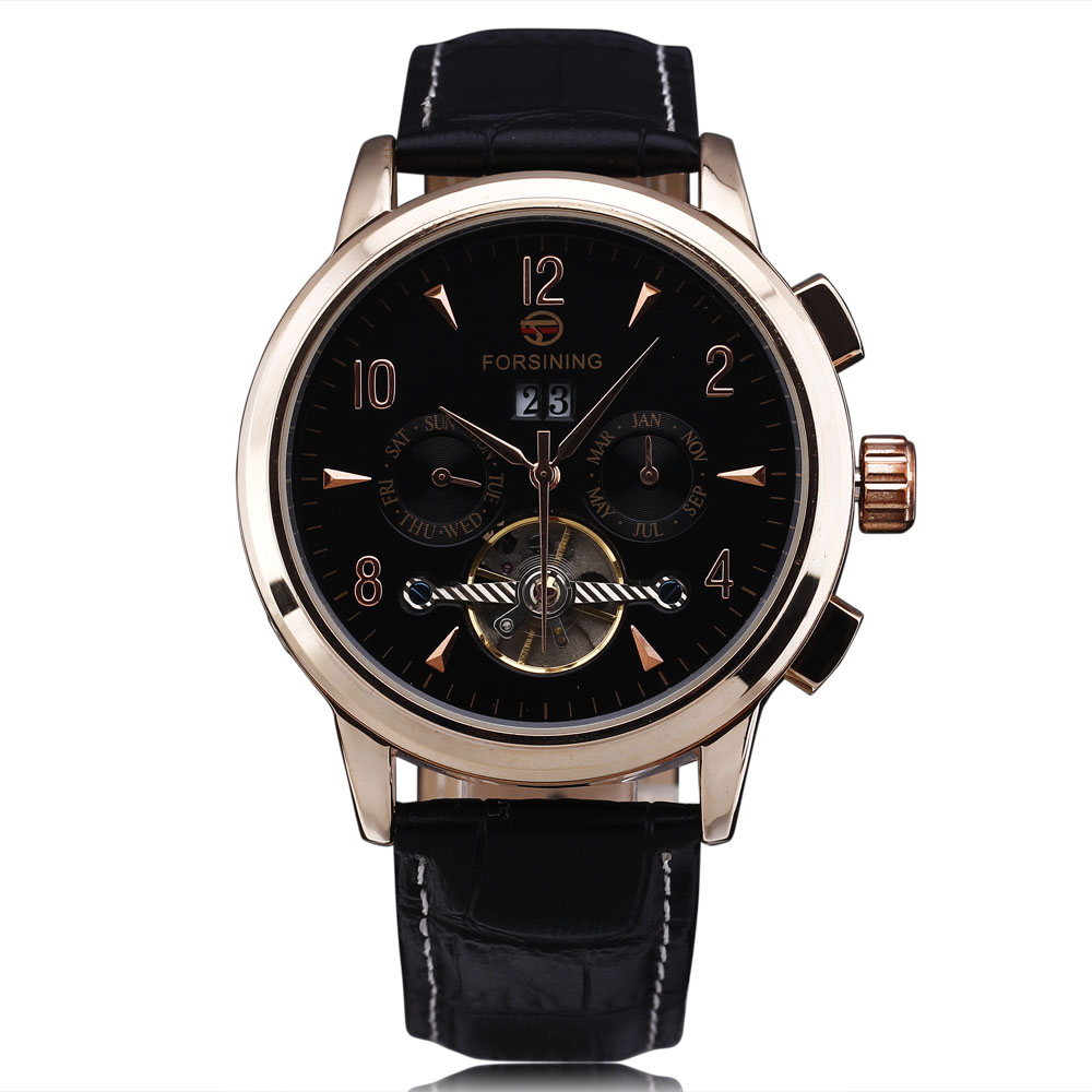 FORSINING Mens Classic Multi-Function Tourbillon Automatic Watches Leather Strap Auto Date Michanical Rose Gold Watch For Men<br>