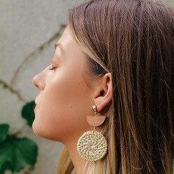 Женские серьги из соломинки пальмового листа, с круглой подвеской