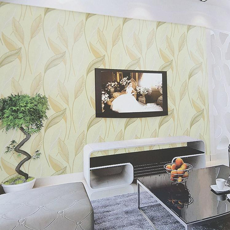 Family Wall Decals Wallpaper Roll Europe Style Non Wowen Wallcovering Modern Bedroom Living Room Wallpaper Transparent Leaves<br>