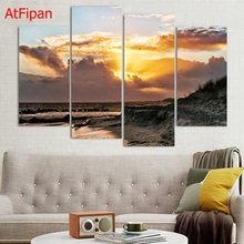 New Fashion Home Decoration picture 4 Pieces Canvas Art Painting Print Coast Seagulls Birds HD Printed Wall Artwork Unframed(China)