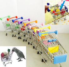2016 New Arrival Funny Mini Bird Parrot Mouse Cat Toy Supermarket Shopping Cart Intelligence Growth