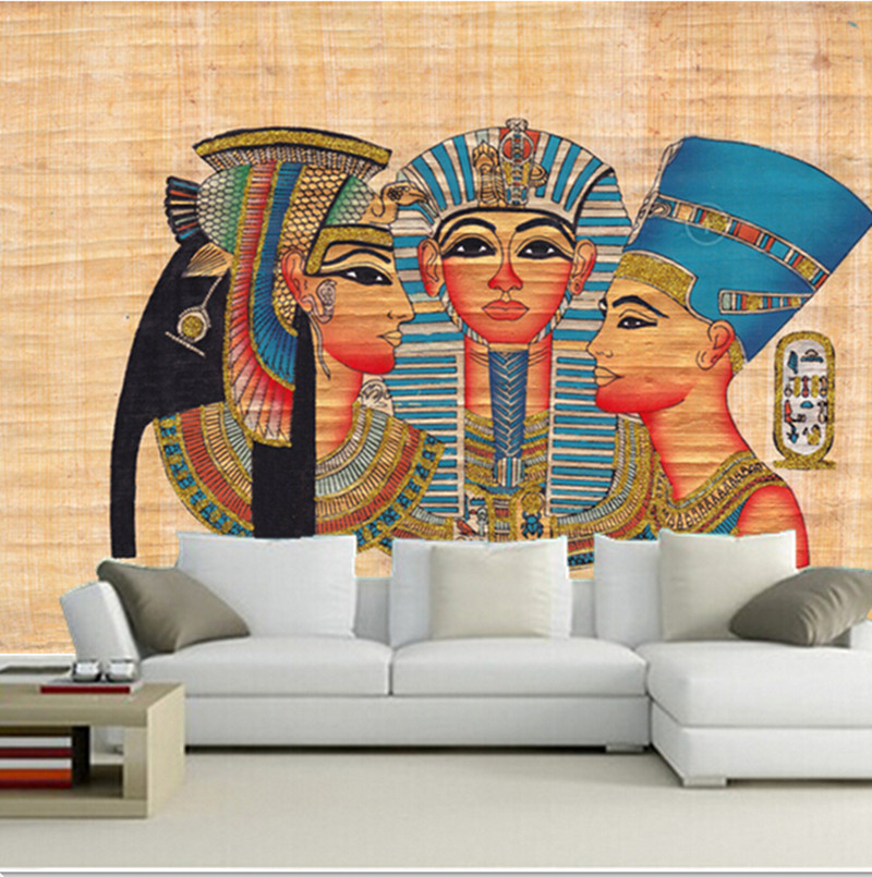 Custom 3D large mural, 3D Ancient Egyptian color figure painting papel de parede ,living room sofa TV wall  bedroom wall paper<br>