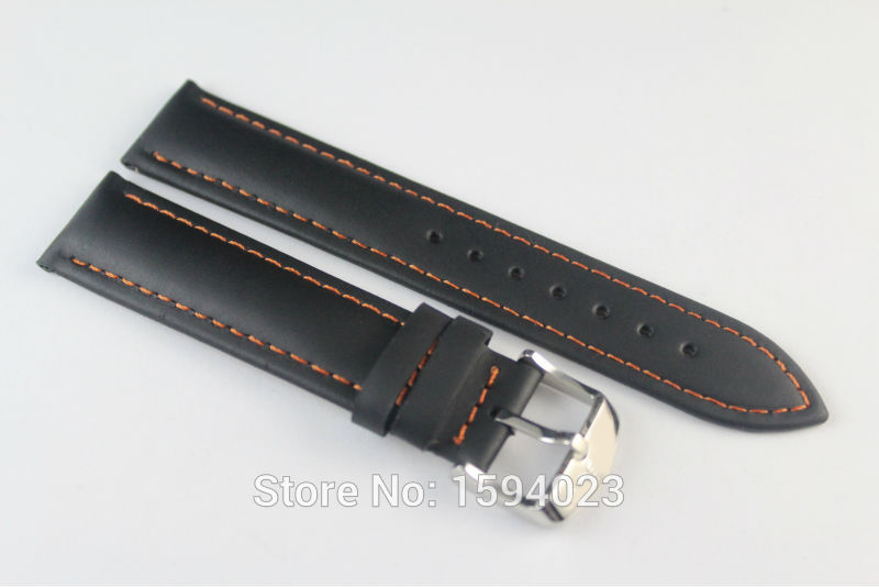 19mm (Buckle18mm) PRC200 T095417 T17 T461 High Quality Silver Buckle + Black Genuine Leather Orange Line Watch Bands Strap<br><br>Aliexpress