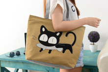 CUTE Cats BAG , Size 43CM Approx. Lady Girl's Polyester Satchel BAG , Shoulder BAG Pack Messenger BAG Case Pouch(China)