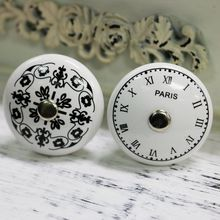 4pcs 38*40mm(D*H) PARIS Clock Digital Pattern Retro furniture Ceramic Knob Cabinet Cupboard Wardrobe Drawer Door Handle Pull