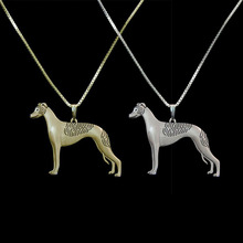 2016 HOT SALE  gold&Silver plated Standing Whippet jewelry solid pendant and necklace for pet lovers dog animal charms A073
