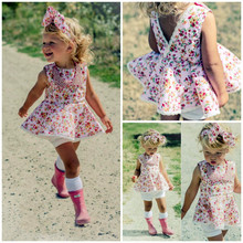 2016 New Baby Girls Dress Floral Dresses Infant Kids Baby Girls Tutu Pageant Party Princess Floral Summer Sun Tops Dress