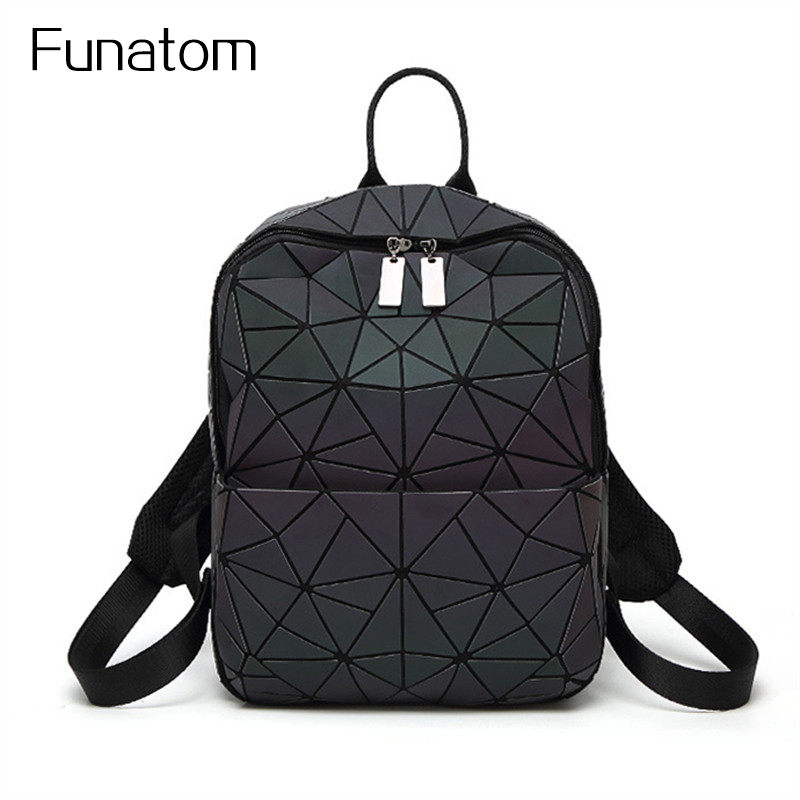 2017 new PU noctilucent patchwork women backpacks japanese style teenage girls school bags geometric luminous baobao backpack<br>
