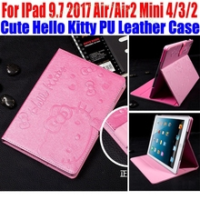 Cute Hello Kitty PU Leather Stand Cover for iPad 4/3/2 Smart Case For IPad 9.7 2017 Air1/Air2 For iPad mini 4/3/2/1 IM415(China)
