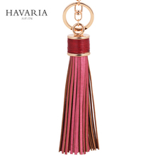HAVARIA Fashion casual PU leather tassels women keychain bag pendant alloy car key chain ring holder retro jewelry ysb-020