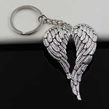 Fashion diameter 30mm Key Ring Metal Key Chain Keychain Jewelry Antique Silver Plated angel wings 67*42mm Pendant(China)