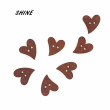 SHINE 50PCs Wooden Sewing Buttons Scrapbooking Heart Costura Botones Decorate bottoni botoes 20x18mm(China)